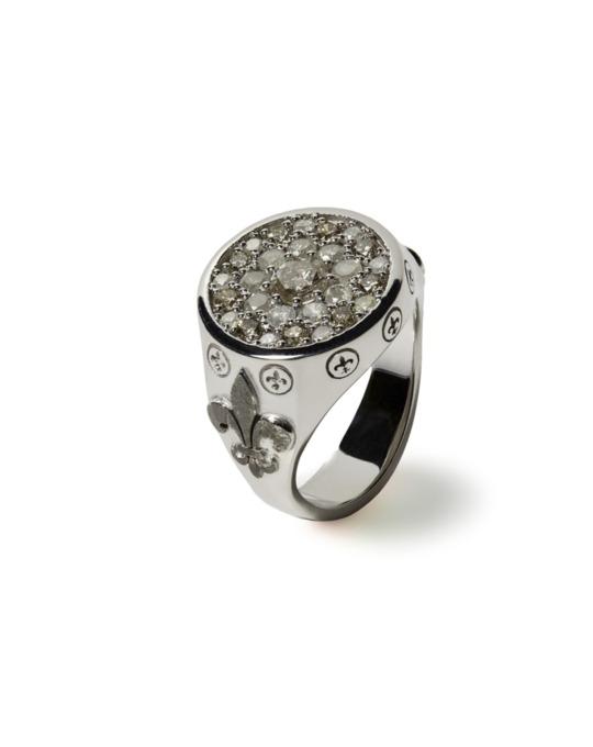 anillo sello specials flor oro blanco diamantes rosich