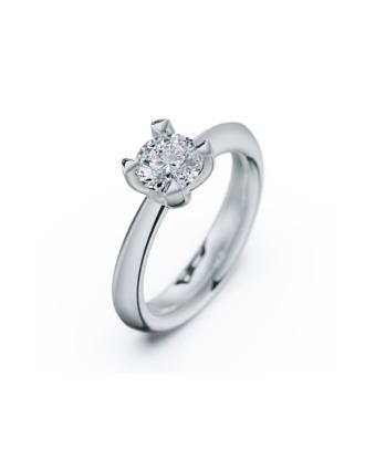 anillo solitario compromiso oro blanco diamantes blanco 090 rosich