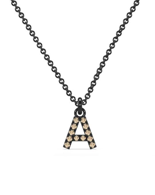 Collar identity oro negro diamantes marrones