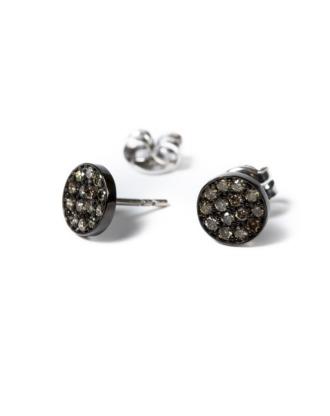 pendientes boton iconic oro negro diamantes marrones rosich
