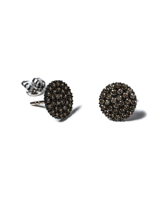 pendientes iconic oro negro diamantes marrones rosich
