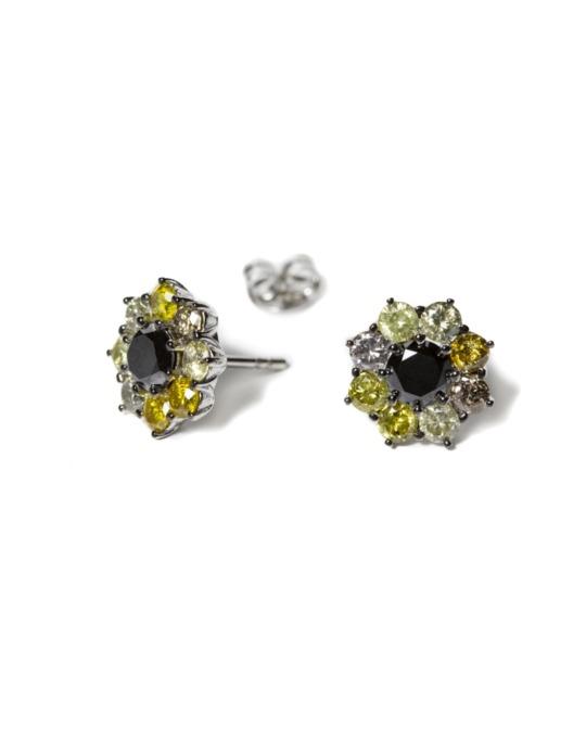 pendientes specials flor oro blanco diamantes color rosich